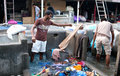 Workers washing clothes at Dhobi Ghat in Mumbai, India Royalty Free Stock Photo