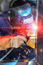 Workers welding construction by MIG welding Royalty Free Stock Photo