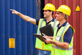 Workers working harbor cheerful shipping company at the Royalty Free Stock Photography