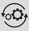 workflow icon on transparent. flat style. gear and arrow icon for your web site design, logo, app, UI. workflow automation icon.