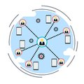 Workgroup, social network, co-working vector concept Royalty Free Stock Photo