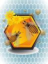 Working bees abstract colorful illustration with two a honeycomb cell and yellow flowers Stock Image