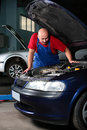 Working car mechanic Stock Images
