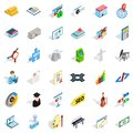 Working contract icons set, isometric style Royalty Free Stock Photo