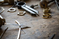 Working desk for craft jewelery making with professional tools close up Stock Images