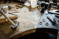 Working desk for craft jewelery making Royalty Free Stock Photo