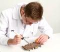 Working electronics repairing board using soldering pen Royalty Free Stock Photo