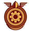 Working emblem with cogwheel. Stock Images