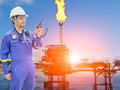 Working engineer at offshore oil and gas refinery