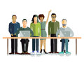 Working environment a concept illustration of people in office or other Royalty Free Stock Image