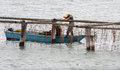 Working fishermen in the italian adriatic sea are repairing their material along coast north of italy Royalty Free Stock Image