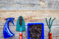 Working in garden. Gardening tools and pots with soil on wooden background top view copyspace