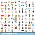 100 working icons set, cartoon style