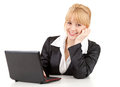 Working on laptop cheering businesswoman Stock Image