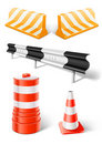 Working objects for road repair or construction Stock Photos
