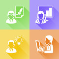 Working in a office colorful flat icons set of about business concept Royalty Free Stock Photography