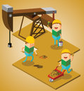 Working at oil field illustration of some men Royalty Free Stock Images