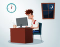 Working overtime lazy office worker get grumpy when Royalty Free Stock Photography
