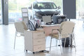 Working place of managers in a dealer s car showroom serpuhov russia june serpuhov russia Stock Photography
