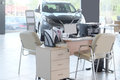 Working place of managers in a dealer s car showroom serpuhov russia june serpuhov russia Royalty Free Stock Image