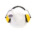 Working protective headphones on hard hat isolated a white background Stock Photos