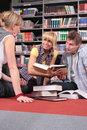 Working students in library Stock Photography