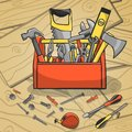 Working toolbox and instruments kit carpenter with screwdriver hammer handsaw wrench scattered on a wooden background vector Stock Photos