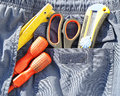 Working tools back pocket old used jeans Stock Images
