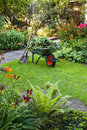 Working with wheelbarrow  in the garden Stock Image