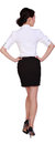 Working woman active girl wear professional attire in front of a white background Royalty Free Stock Photography