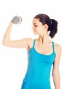 Working woman doing exercises dumbbells Royalty Free Stock Image