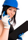 Working woman in helmet Royalty Free Stock Photo