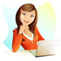 Working woman illustration of a happy Royalty Free Stock Photos
