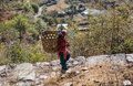 Working women in hills a with a basket on her back going to collect flower fruits etc on the trekking way to deveria tal Stock Photos