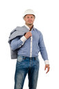 Workman or builder pointing up to blank copyspace wearing a hardhat and carrying a jacket slung over his shoulder standing into Royalty Free Stock Photography