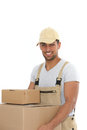 Workman carrying boxes handsome young with a confident smile plain brown cardboard upper body isolated on white Royalty Free Stock Images