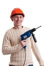 Workman with drill Royalty Free Stock Image
