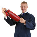 Workman holding an extinguisher Royalty Free Stock Photo