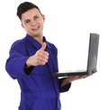 Workman with laptop Royalty Free Stock Photo