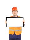 Workman with lcd monitor isolated on a white background Royalty Free Stock Photography