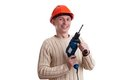 Workman in red helmet Stock Image