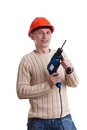 Workman in red helmet Royalty Free Stock Photo
