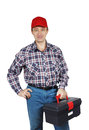 Workman with toolbox isolated on white background Royalty Free Stock Photography