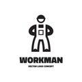 Workman - vector logo template illustration. Worker sign concept. Human character. Design element