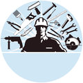 Workman and work tools Stock Images