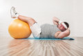 Workout close up of funny overweight man in the gym Royalty Free Stock Photos