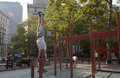 Workout at columbus park new york city a swedish man workouts chinatown Royalty Free Stock Image