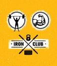 Workout Gym Sport and Fitness Motivation Vector Design Elements on Grunge Background