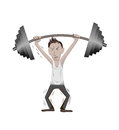 Workout a weak man on white background Royalty Free Stock Photos