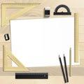 Workplace art board, paper, ruler, protractor